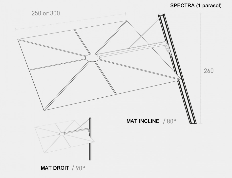 spectra umbrosa beau parasol design 2 5x2 5m 3x3m