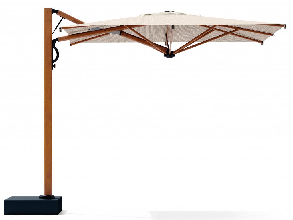 parasol déporté haut de galle Astro timber aluminium bois