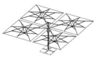 Astro Quattro parasol géant 4 toiles quadruple 6x6m pour restaurant professionnel