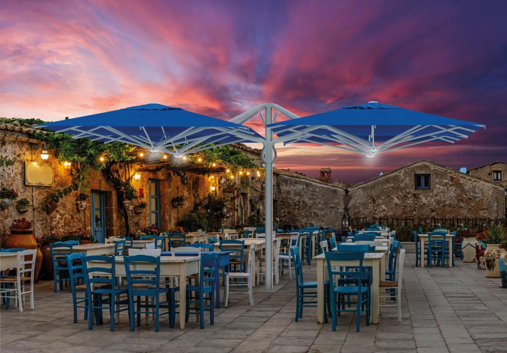 parasol quattro 4 toiles sur 1 mât pour restaurant terrasse parasol professionnel