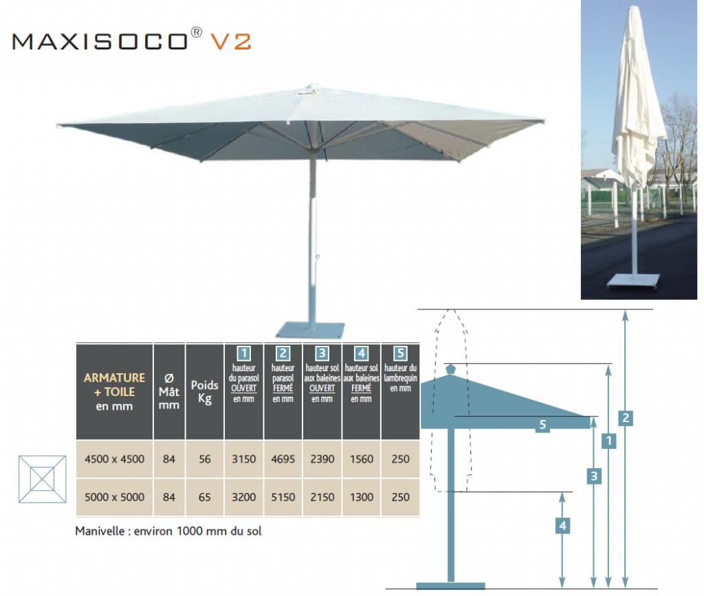 Dimensions parasol geant maxisoco
