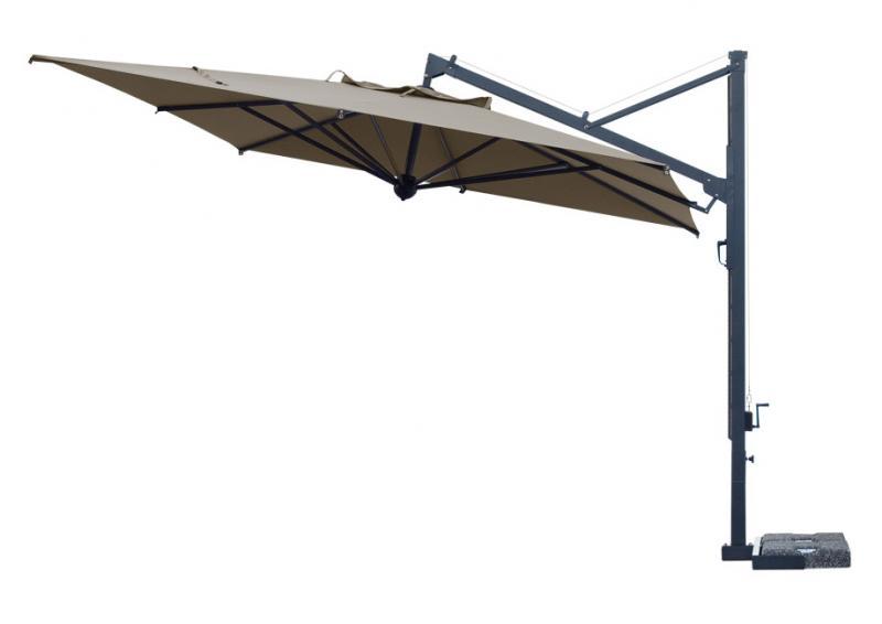 parasol déporté Galileo Scolaro inclinable télescopique toile taupe marron