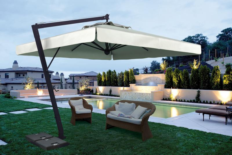 grand parasol d port pour terrasse restaurant en alu gris. Black Bedroom Furniture Sets. Home Design Ideas