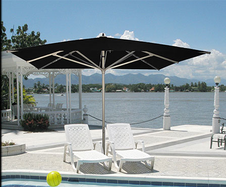 grand parasol haut de gamme en aluminium 4x4m ou 5x5m. Black Bedroom Furniture Sets. Home Design Ideas