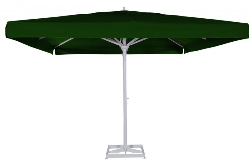 grand parasol mat central en alu blanc carr 4x4m terrasse restaurant. Black Bedroom Furniture Sets. Home Design Ideas