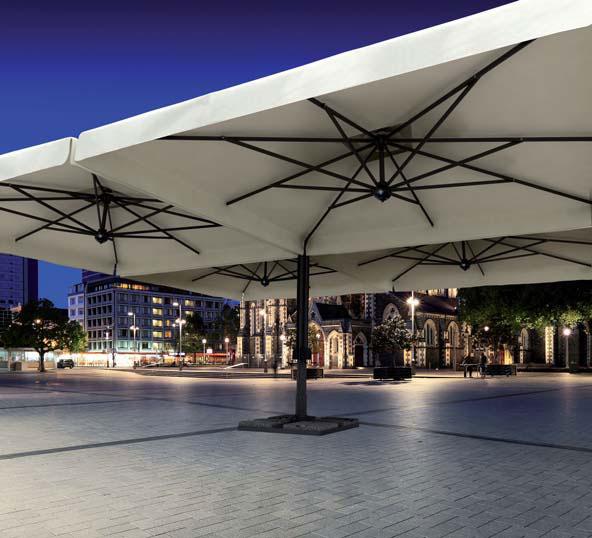 Parasol géant de terrasse Alu Poker Scolaro quatre parasols 6x6m 7x7m