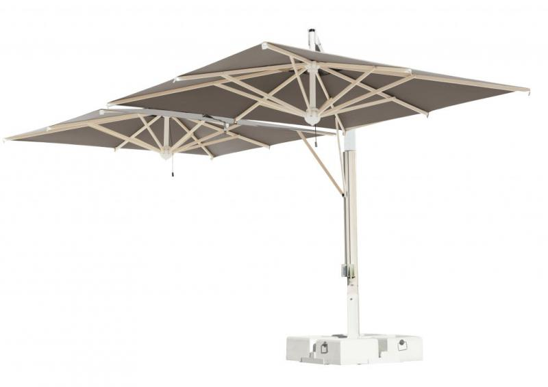 parasol g ant de terrasse milano double ou poker scolaro 3x6m 3x7m 6x6m 7x7m. Black Bedroom Furniture Sets. Home Design Ideas